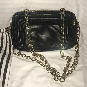 Henri Bendel Black Leather Camera Bag w Gold Chain